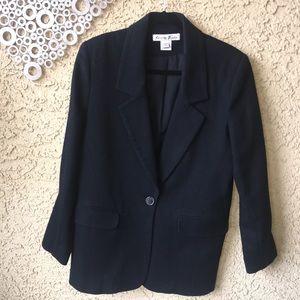 Black Merino Wool Small Women's Blazer